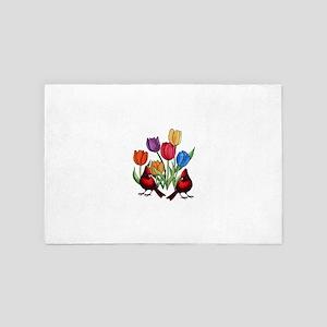 Tulips and Cardinals 4' x 6' Rug