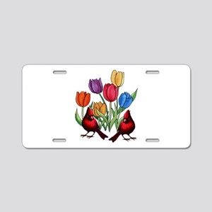 Tulips and Cardinals Aluminum License Plate