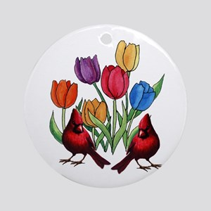Tulips and Cardinals Round Ornament