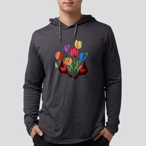 Tulips and Cardinals Mens Hooded Shirt