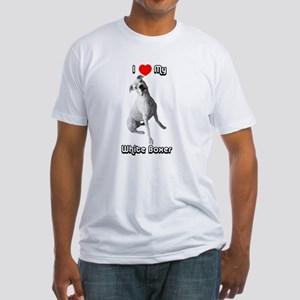I Heart My White Boxer Fitted T-Shirt