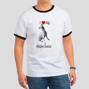 I Heart My White Boxer Ringer T