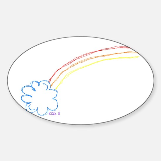Rainbow Sketch Oval Decal