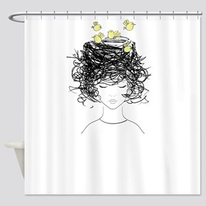 Bird's Nest Hair Shower Curtain