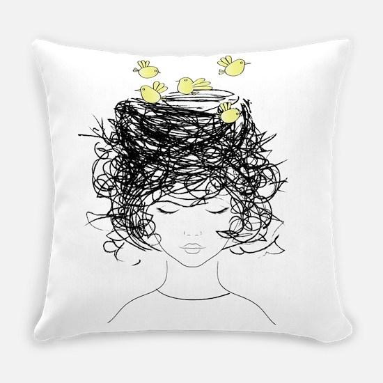 Bird's Nest Hair Everyday Pillow