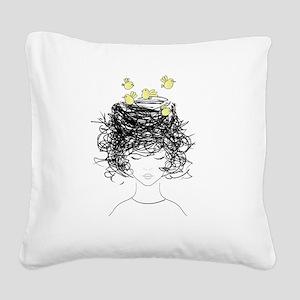 Bird's Nest Hair Square Canvas Pillow