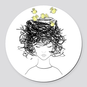 Bird's Nest Hair Round Car Magnet