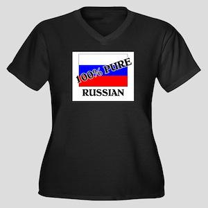 100 Percent RUSSIAN Women's Plus Size V-Neck Dark