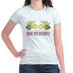 Save the boobees without ribbon Jr. Ringer T-Shirt