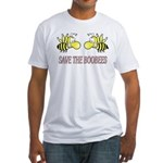 Save the boobees without ribbon Fitted T-Shirt