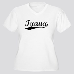 Vintage Iyana (Black) Women's Plus Size V-Neck T-S