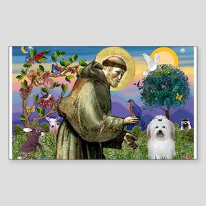 St Francis / Coton de Tulear Rectangle Sticker