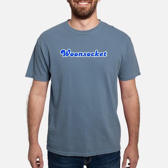 Retro Woonsocket (Blue) Women's Dark T-Shirt