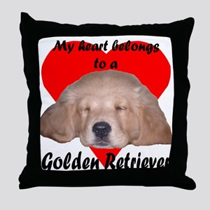 Golden Retriever My Heart Throw Pillow