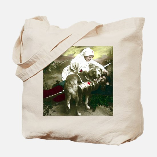 NURSE WITH SOLDIER & DOG Tote Bag