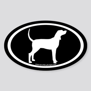 Coonhound #2 Oval (white on black) Oval Sticker