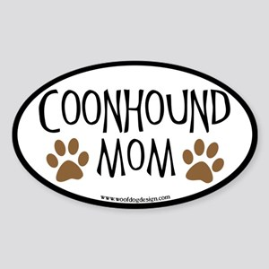 Coonhound Mom Oval (black border) Oval Sticker
