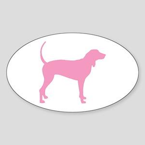Pink Coonhound Oval Sticker