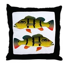 Peacock bass Throw Pillow