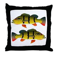 Peacock bass Throw Pillow