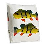 Peacock bass Burlap Throw Pillow