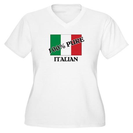 100 Percent ITALIAN Women's Plus Size V-Neck T-Shi