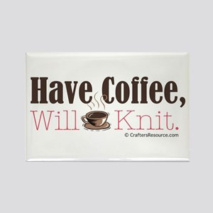 Have Coffee, Will Knit Rectangle Magnet