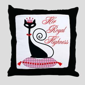 HRH Cat Throw Pillow