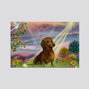Cloud Angel & Dachshund Rectangle Magnet