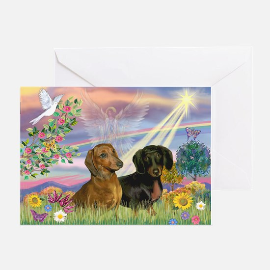 Cloud Angel Doxies Greeting Card
