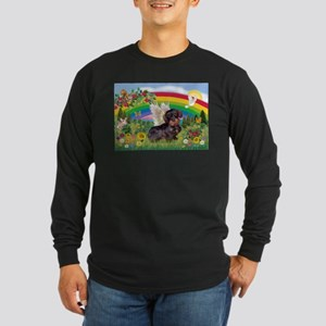 Rainbow & Wire Haired Dachshund Long Sleeve Dark T