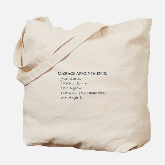Massage Appointments Tote Bag