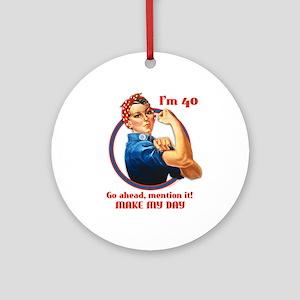 Rosie Riveter 40th Birthday Ornament (Round)