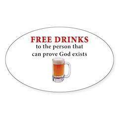 Free Drinks Oval Sticker (10 pk)