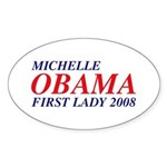 Michelle Obama First Lady 2008 Sticker (Oval 50 pk