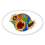 Sunflower Planet Oval Sticker (10 pk)