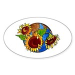 Sunflower Planet Oval Sticker