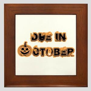 Orange Pumpkin Due October Framed Tile