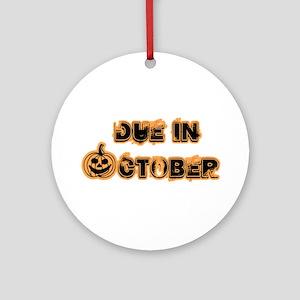 Orange Pumpkin Due October Ornament (Round)