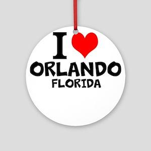 I Love Orlando, Florida Round Ornament
