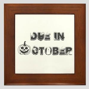 BW Jack O Lantern Due October Framed Tile