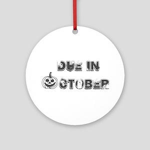 BW Jack O Lantern Due October Ornament (Round)