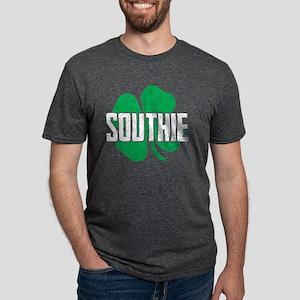 Southie Distressed Green Shamrock St Patri T-Shirt