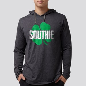 Southie Distressed Green Shamr Long Sleeve T-Shirt