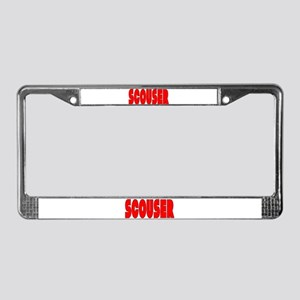 Scouser in Red w/ Black License Plate Frame