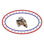 Patriot Democratic Donkey Oval Sticker (10 pk)