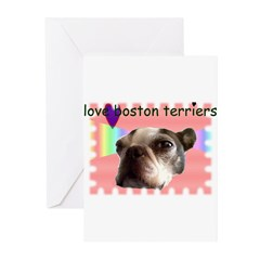 LOVE MY BOSTON TERRIER Greeting Cards (Package of