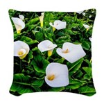 Field of Calla Lily Flowers Woven Throw Pillow