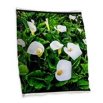 Field of Calla Lily Flowers Burlap Throw Pillow