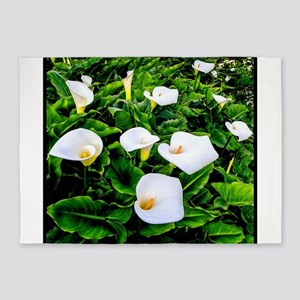 Field Of Calla Lily Flowers 5 X7 Area Rug